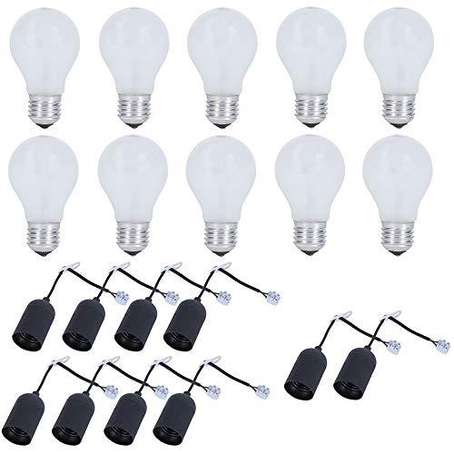 Juego de 10 bombillas incandescentes de 75 W y casquillo E27, incluye 10 bombillas, portalámparas de 230 V, bombillas y comprobador de tensión