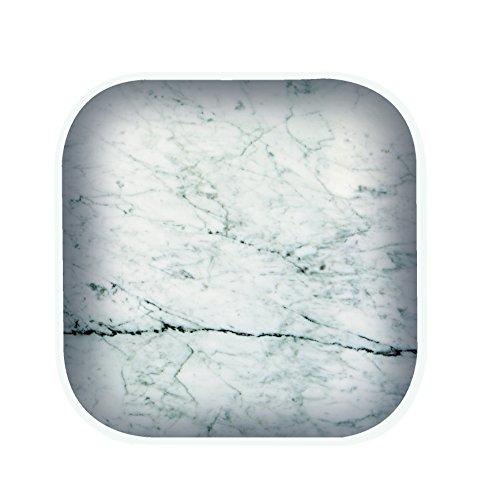 Zak Designs 1303-120 Lot de 4 sous-Verre 10 x 10 cm-marbre/Blanc-Collection Osmose, Plastique, 10 x 10 x 1,1 cm