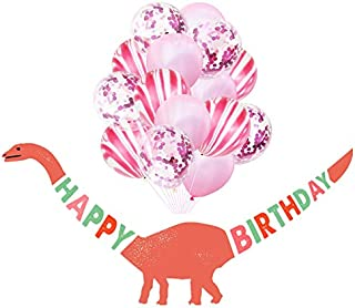 12 Inch Party Decorations Balloon Happy Birthday Dinosaur Banner Balloon for Kids Baby (Coffee)