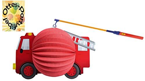 HHO Laternenset Ballonlaterne Lampion Motivlaterne Feuerwehr + LED Laternenstab Leuchtstab