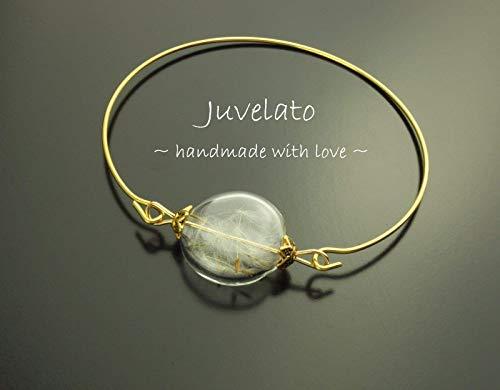 Armreifen echte Pusteblume im Glas golden Armband Reif Draht Juvelato