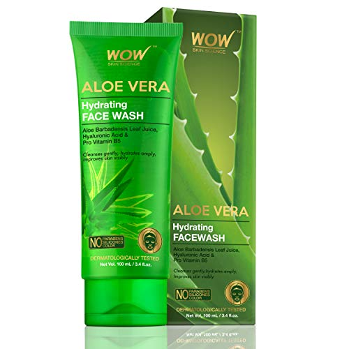 WOW Skin Science Aloe Vera With Hyaluronic Acid and Pro Vitamin B5 Hydrating Gentle Face Wash – No Parabens, Silicones & Color (100mL)