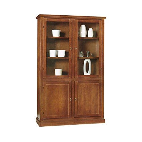InHouse srls Vitrina con aparador, arte pobre, de madera maciza y MDF con acabado en nogal brillante - Medidas 120 x 41 x 187