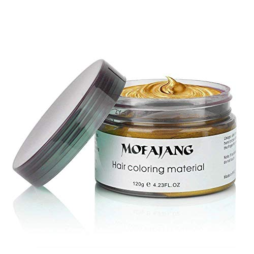 NYKKOLA 2020 Hair Wax Dye Styling Cream Mud, Natural Hairstyle Color Pomade, Washable Temporary Modeling DIY Hair Color Dyes, Party Cosplay (Gold)