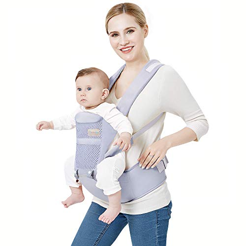 Babieztoon Detachable Adjustable Waist Length (upto 43 inch) and Lumbar Support Multipurpose Front & Back Facing Newborn Baby Carrier Sling Kangaroo Bag Carrying Belt for 3 to 36 months baby (Grey)