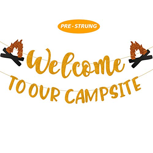Camping Party Decoration Welcome to Our Campsite Banner- Happy Camper Party Decor, Camping Birthday Party Decoration