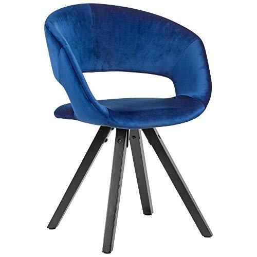 Silla de comedor de terciopelo azul oscuro con patas negras, silla de cocina moderna con respaldo con patas de madera, silla acolchada, carga máxima 110 kg