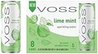VOSS Artesian Sparkling Water, Lime Mint, 355 ml Cans (Pack of 24)
