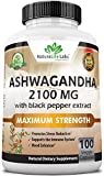 Organic Ashwagandha 2,100 mg - 100 Vegan Capsules Pure Organic Ashwagandha Powder and Root...