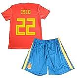 Equipación de ISCO. Réplica Oficial de la Primera Equipación de la Selección Española para el Mundial de Rusia 2018 (Rojo, Talla 14)