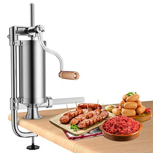 COSTWAY 1,5L Wurstfüller manuell, Wurstmaschine aus Edelstahl, Wurstfüllmaschine silber, Wurstpresse mit Tischklemme, Wurstspritze inkl. 4 Füllrohre