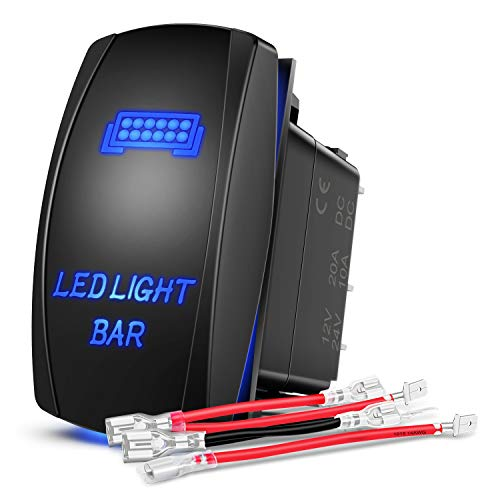 Nilight - 90001B LED Light Bar Rocker Switch 5Pin Laser On/Off LED Light 20A/12V 10A/24V Switch Jumper Wires Set for Jeep Boat Trucks,2 Years Warranty