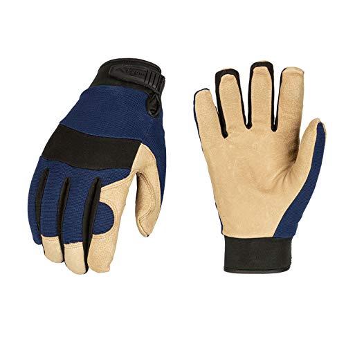 Vgo 3 Paar 3M Thinsulate C40 gefüttertes Schweinsleder, warme Winter-/Kälteaufbewahrung, gefrorene Sicherheits-Arbeitshandschuhe (blau, PA7620F) – Blau – XXL