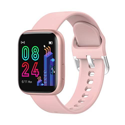LQIAN P4 1,4 Zoll HD GroßbildGesundheit & Fitness Smartwatch Vollbild-Touch-Soft-Silikon-Armband, Schlafindex Musikfunktion IP67 imprägniern Sport-Armband (Rosa)