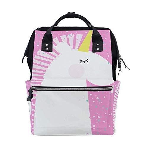 Süßer Cartoon-Einhorn-Windel-Rucksack, personalisierbar, Rucksack für Mütter, Mädchen, Frauen, Schule, Reisen, Wandern, Laptop, Babytasche