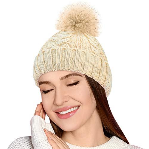 EYNOCA Damen Mütze Winter - Strickmütze mit Teddyfleece und Fell...