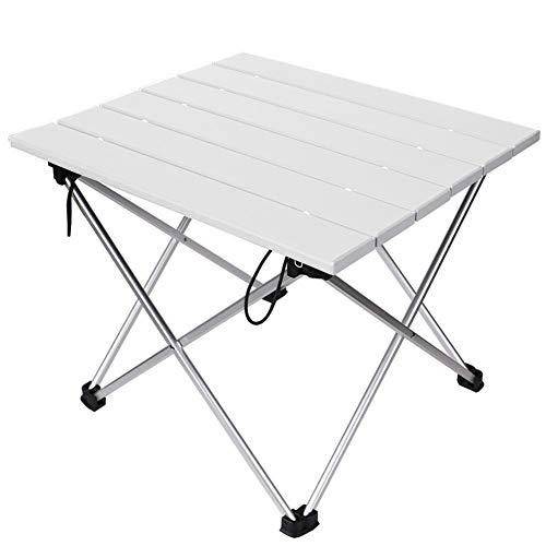 Linkax Mesa Plegable Camping Portátil 40 x 35 x 30 cm, Mesa Auxiliar Plegable Ultraligera de Aluminio al Aire Libre para Picnic, Cocina, Playa, Pesca,Senderismo (Blanco)