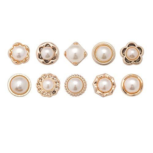 Zeagro Brooch Buttons Women Shirt Crystal Rhinestone Pearl Brooch Cover Up Brooch Pins for Clothing Dress Bags Backpacks Jackets 10 Pcs