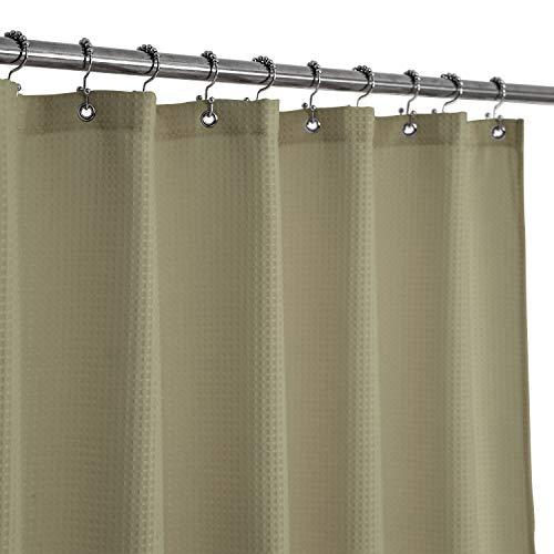 Duschvorhang, Waffelmuster, luxuriös, Wellenmuster, 230 g/m², robuster Stoff, kein Blasen, wasserabweisend, Leinen, 180,3 x 182,9 cm