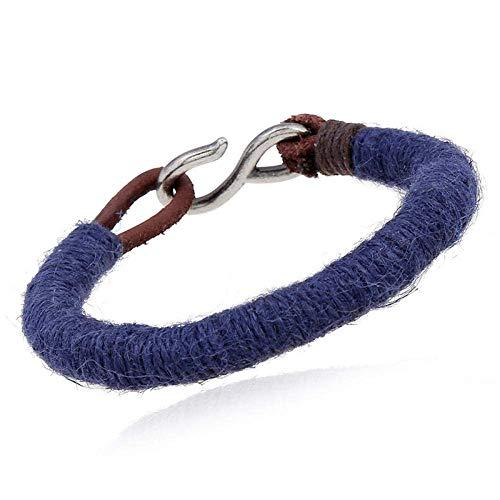 Gymqian Pulsera Trenzada de Cuerda de Cáñamo Retro Pulsera de Cuero de Joyería de Hombre Simple Y Versátil-Beige Exquisito/Cuerda Negro