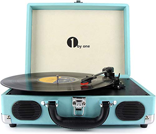 1byone Belt-Drive 3-Speed Portable Vinyl Turntable with Built in Speakers,...