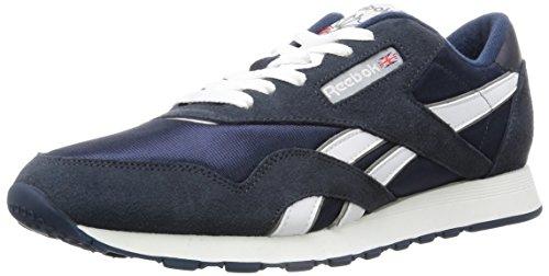 Reebok Men's Classic Nylon Sneaker, team navy/platinum, 11