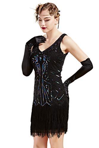 BABEYOND Damen Kleid Retro 1920er Stil Flapper Kleider mit Zwei Schichten Troddel V Ausschnitt Great Gatsby Motto Party Kleider Damen Kostüm Kleid (Bunt Schwarz, M)