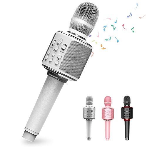 Wireless Bluetooth Karaoke Microphone with Duet Sing, Leather Portable Handheld Mic Speaker Machine for Android/iOS/PC/TV Output for Conference/Wedding/Church/Stage/Party,Gifts for Kids&Adults(White)