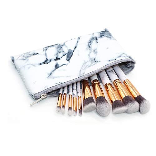 Gobesty Marmor Make Up Pinsel Sets, 10 Stücke Professionelle Pinselsets makeup Premium Synthetische für Lose Pulver Schatten Lidschatten Concealer Augenbraue mit Marmor Kosmetiktasche