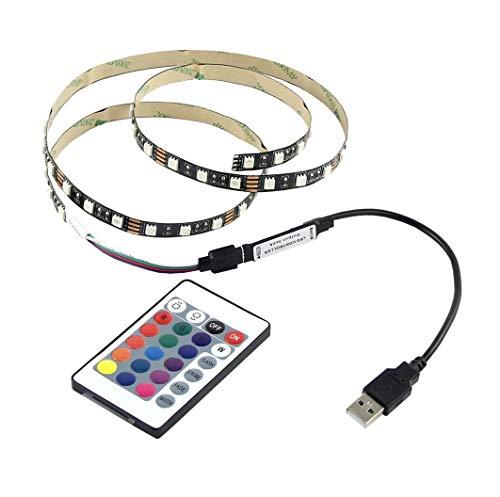 USB Kit de Ruban à LED 5V 5050 60SMD / M RVB,LED Bande Flexible non Etanche Strip + USB Télécommande, Chambre à coucher, pour Home Led Lighting Barres,Rétro-éclairage TV (50CM)
