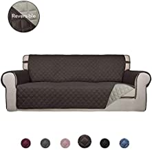 PureFit Reversible Quilted Sofa Cover, Water Resistant Slipcover Furniture Protector, Washable Couch Cover with Non Slip Foam and Elastic Straps for Kids, Dogs, Pets (Sofa, Chocolate/Beige)