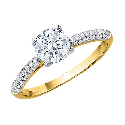 KATARINA Anillo de compromiso solitario con diamantes en oro amarillo de 14 k (1 quilate, J-K, SI2-I1) (tamaño 7,5)