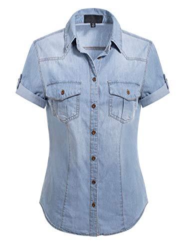 Design by Olivia Women's Button-Down Cap Sleeve Denim Chambray Shirt Washed Light Denim 2XL