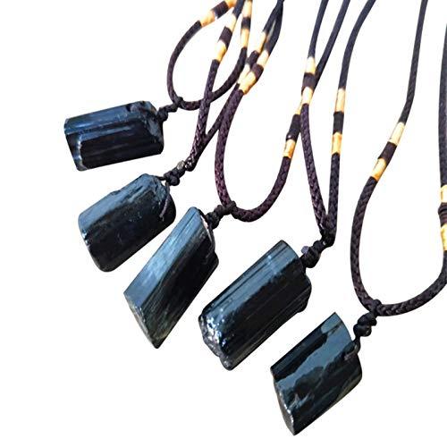 DealmerryUS Collar con Colgante de Pilar de Piedra de turmalina Negra Natural, Amuleto de turmalina, Colgante curativo de Cristal Natural