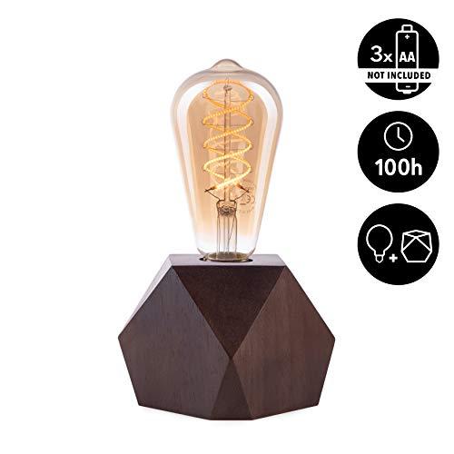 CROWN LED Tischlampe Vintage Batteriebetrieben - Design Tischleuchte aus Holz Farbe Eiche dunkel E27 Fassung inkl. Retro Edison LED Glühbirne EL17