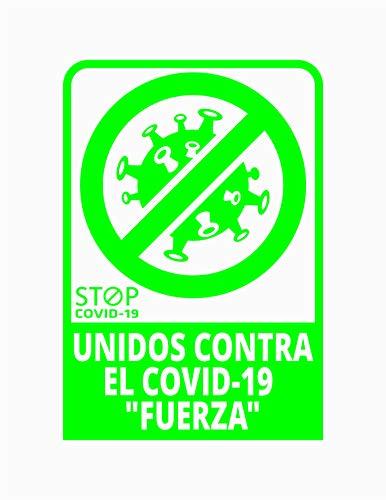 Pegatina Unidos contra el COVID-19 Fuerza, Prevención COVID-19, diseñado para empresas, como medida de protección contra el Coronavirus - Cartel de ánimo contra el COVID-19 (verde)