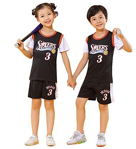 Kinder Basketball Trikots # 3 Iverson 76ers, Top und Shorts 2-teiliges Set für Jungen Ärmellose Weste Top Shorts Training Sommersport Trikot-Black-M