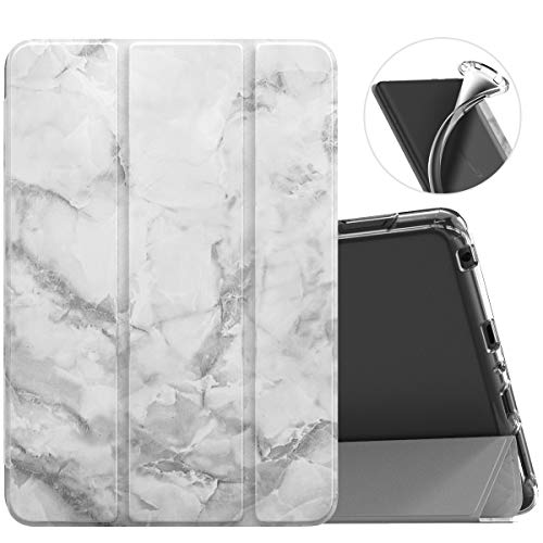 MoKo Case Fit All-New Kindle Fire HD 8 Tablet and Fire HD 8 Plus Tablet (10th Generation, 2020 Release) Case, Soft TPU Translucent Frosted Back Cover Slim Smart Shell, Auto Wake/Sleep - White Marble