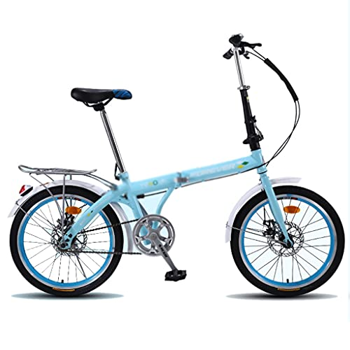 Bicicletas Plegable De 20 Pulgadas Ligera para Adultos Estudiantes Carretera Freno De Disco Doble Mecánico (Color : Blue, Size : 20 Inches)