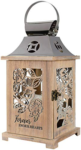 The Bridge Collection 'Forever in Our Hearts' Wooden Memorial Lantern with Flameless LED Candle