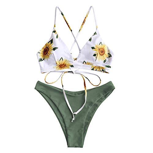 ZAFUL Women Braided Straps Lace Up Bikini Set Bralette Swimsuit Flower Bathing Suit (Sunflower Green, L)