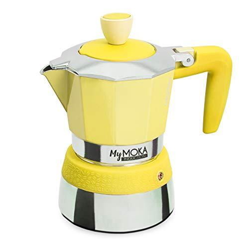 PEDRINI MyMoka Kaffeemaschine für Induktionskochfeld, 3-Tassen-Format, Espressokocher Moka Sunshine Farbe (Gelb), Stahl außen, Aluminium innen, italienisches Design, Maße 15 x 9 x 15 cm