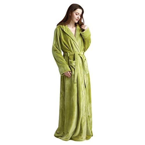 LEEDY Bademantel Morgenmantel Mit Kapuze Und Gürtel, Kapuze Verdicken Korallenrote Vlies-Robe Bademantel-Kleid Pyjamas Nachtwäsche Taschen Einfarbige Elegante Paar Pyjamas