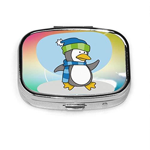 Caricatura de Little Penguin Fashion Square Pill Box Vitamina Medicina Tableta Titular Cartera Organizador Estuche