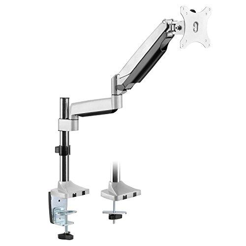 RICOO TS9111, Gasfeder Monitor Tisch-Halterung, Bildschirm-Ständer, 15-32 Zoll (38-81cm), Schwenkbar, Neigbar, Stand-Fuß, VESA 75x75-100x100, Silber