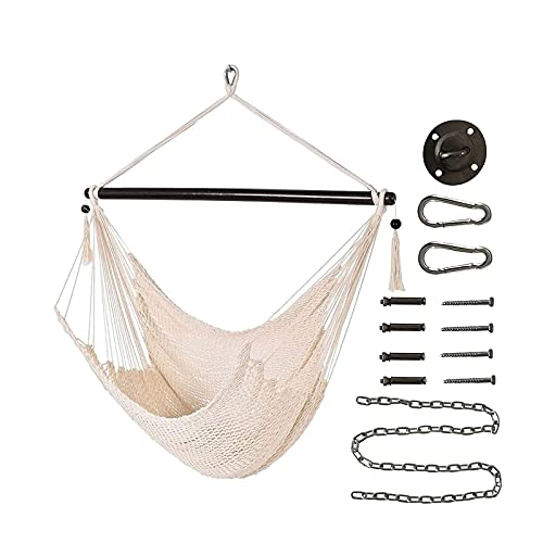 XiYou Hanging Hammock Chair, Swing Chair, Wide Seat, Polyester Cotton