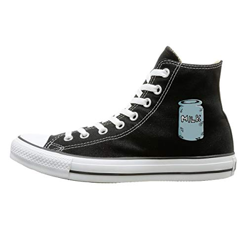 Sakanpo Milk House Canvas Shoes High Top Design Black Sneakers Unisex Style 127