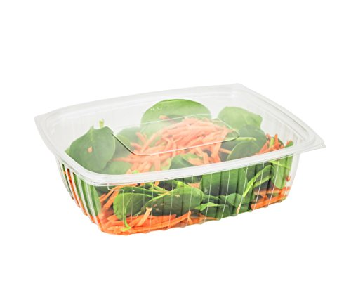 Dart C32DER, 32-Ounce ClearPac Clear Rectangular Plastic Container With A Flat Lid, Take Out Salad Deli Fruit Food Disposable Containers (50)