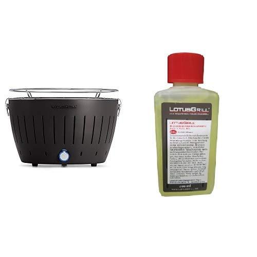 Lotus 91577 Holzkohlengrill, anthrazit, 35 x 26 x 23.4 & LotusGrill Sicherheitsbrennpaste aus Bio-Ethanol, Transparent,200ml