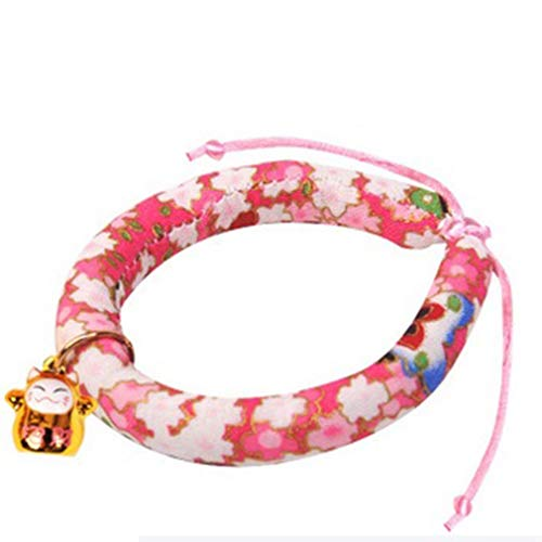 KMSH Japanese Style Wind Cat Necklace Pet Collar with Bell Adjustable Collars(Pattern 5S)